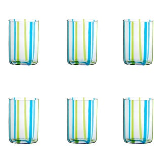 Tirache Tumbler in Aquamarine & Green - Set of 6 For Sale