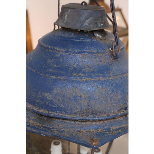 Glass Large Late 19th Century Blue-Painted Lantern For Sale - Image 7 of 11
