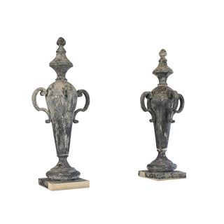 19th Century French Napoleon III Zinc Finial Urns - a Pair For Sale