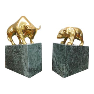 1970s Vintage Chicago Board of Trade Brass Bull and Bear Bookends - a Pair For Sale