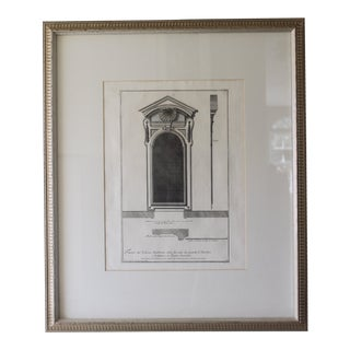 18th Century Antique Framed Architectural Engraving For Sale