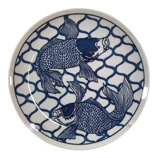 Vintage Designer Blue & White Koi Fish Plate