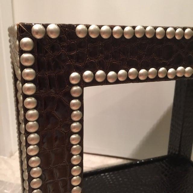 Crocodile-Embossed Leather Side Table - Image 10 of 10