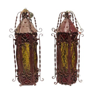 Red Steel Lanterns With Amber Glass - a Pair For Sale