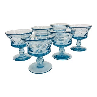 Vintage Blue Glass Coupes For Sale