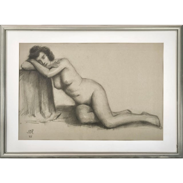 Charcoal J. Mason Reeves Original Nude Drawing 1962 For Sale - Image 7 of 7