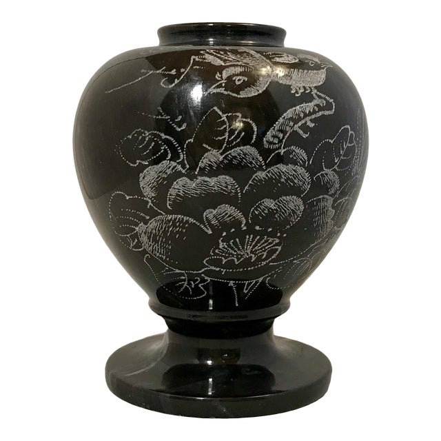 Hand Etched Black Marble Vase For Sale