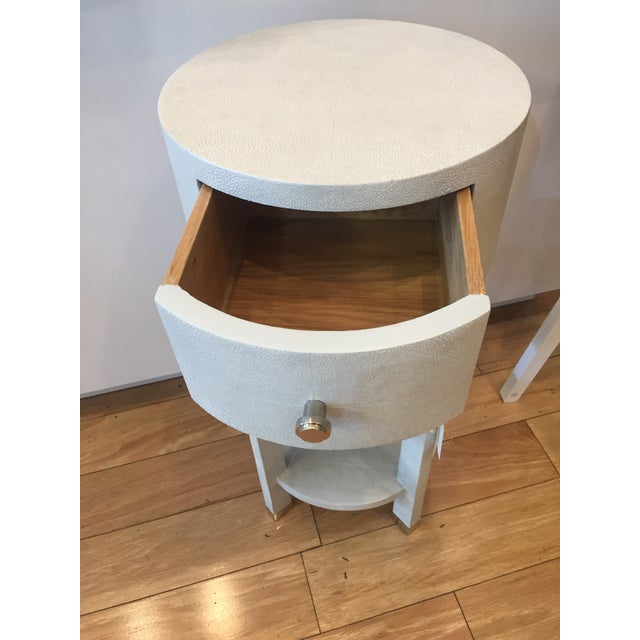"Bungalow 5 Dakota One Drawer Table Height 28"" Diameter of Top 14"" Two Teir shelf bottom , light grey pebbled texture ,..."
