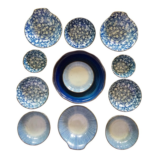 Japanese Blue & White Ceramic Bowls - Set of 10 - Image 1 of 10