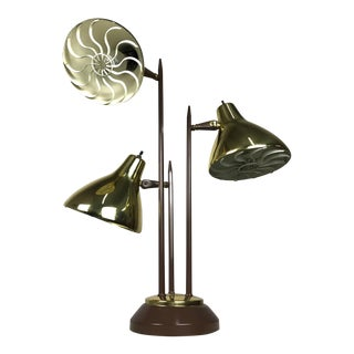 1960s Mid-Century Modern Gerald Thurston Style Brass Three Cone Table Lamp