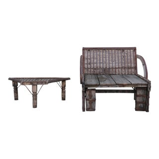 Rustic Bench & Side Table - A Pair For Sale