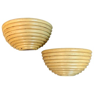 Pair of Mid Century Rattan Half Moon Wall Sconces For Sale