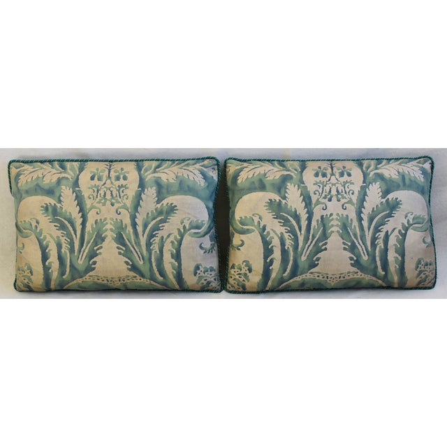 Pair of custom-tailored Italian Mariano Fortuny pillows. Pillow fronts are a vintage/never used premium Egyptian cotton...