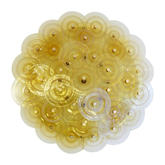 Vistosi designed lighting panel which can be used as a wall light or ceiling light panel Hand blown glass amber colour...