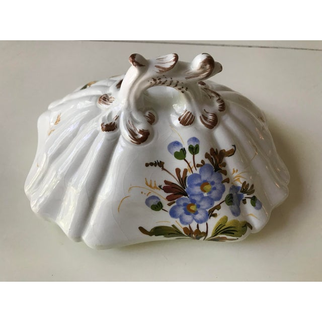 Blue Petite Floral Porcelain Soup Tureen & Tray For Sale - Image 8 of 13