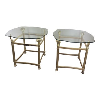 1970s Brass and Glass End Tables - a Pair For Sale