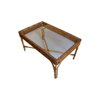 Hollywood Regency Style Rattan Coffee Table For Sale