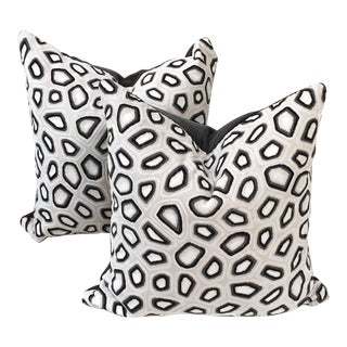Kravet Couture Pillows in Tortoise & Dark Gray Velvet - A Pair For Sale