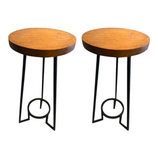 Bauhaus Modernist French Blond Wood Pair of Side Tables For Sale