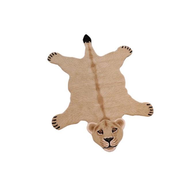 Boho Chic Lioness Shaped Animal Design Area Rug For Sale - Image 10 of 12