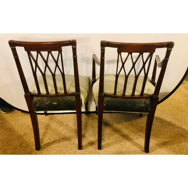 Mid-Century Modern Set of Twelve Sheridan Style Dining Chairs With New Upholstery For Sale - Image 3 of 13