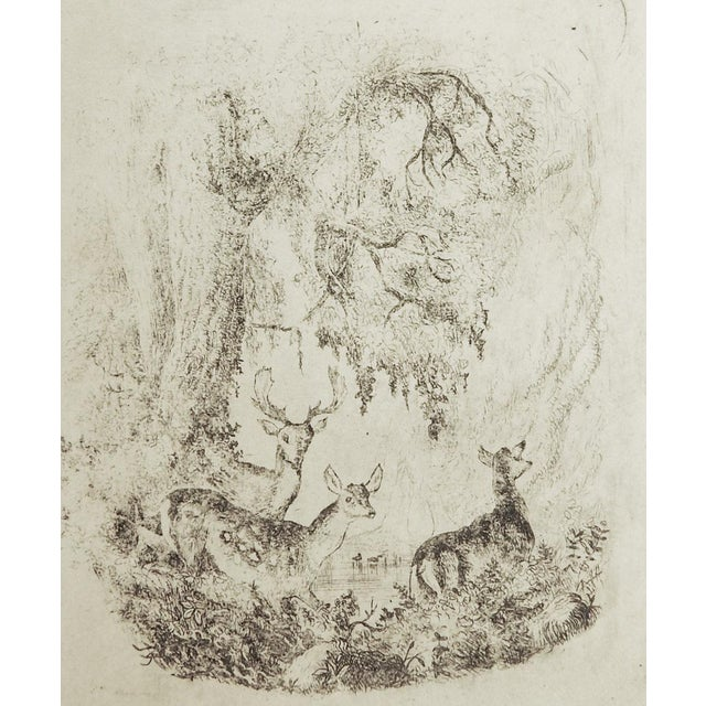 Circa 1900 tiny etching on paper of deer in a forest. Unframed.