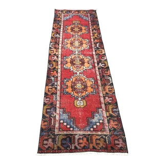 1960s Vintage Tribal Turkish Runner Rug - 2′6″ × 9′7″ For Sale