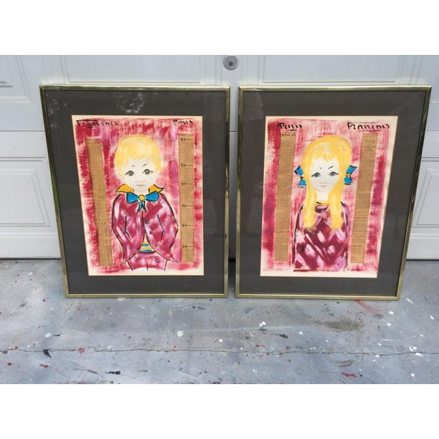 1960s Vintage Francois Paris Girl and Boy Portraits Mixed Media Paintings - A Pair For Sale - Image 4 of 13