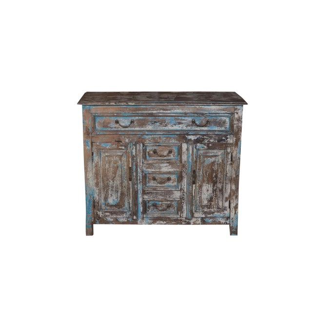 Rustic Wood Caine Cabinet For Sale