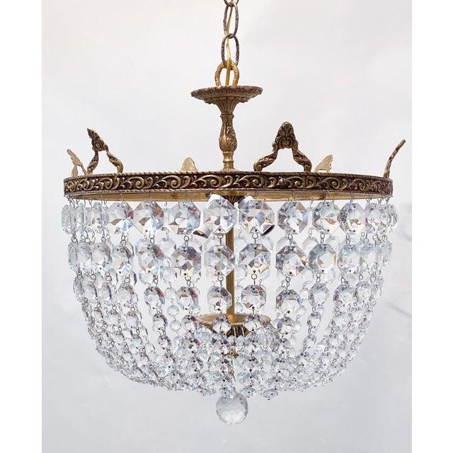 1960s Italian Brass Basket Chandelier For Sale - Image 5 of 5