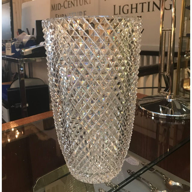 1900s Late 19th Century Diamond Cut Crystal Vase For Sale - Image 5 of 11