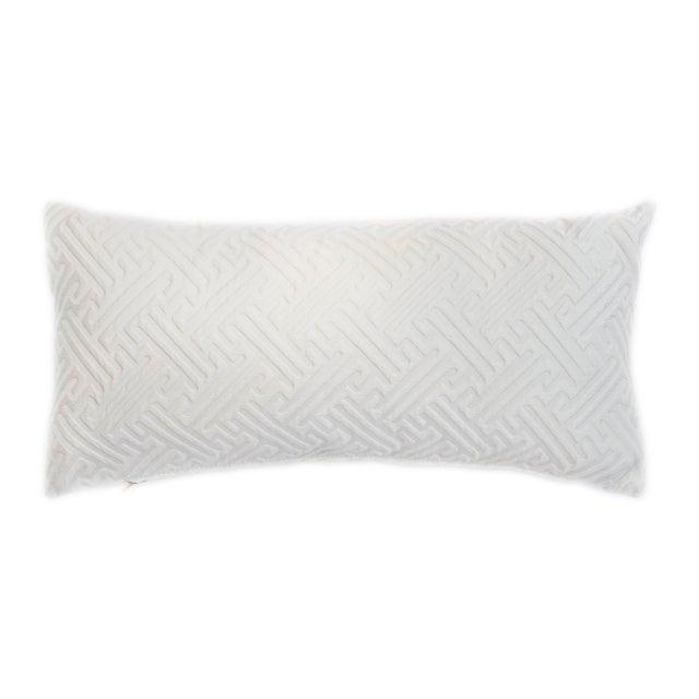 Cream Geometric Print Lumbar Pillow For Sale