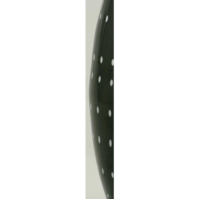 Black Murano Cased Glass Vase With White Polka Dots For Sale - Image 4 of 4