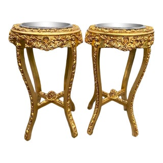 French Louis XVI Pedestal Side Tables in Gold With Grey Marble Top - a Pair For Sale