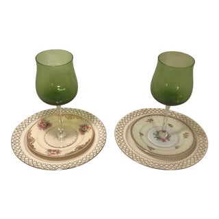 1940s Shabby Chic White Multi-Color Floral China Table Settings - 6 Pieces For Sale
