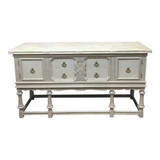 Custom Painted Faux Marble Top Sideboard
