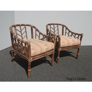 Pair of Vintage Mid Century Modern McGuire Bamboo Rattan Accent Chairs Preview