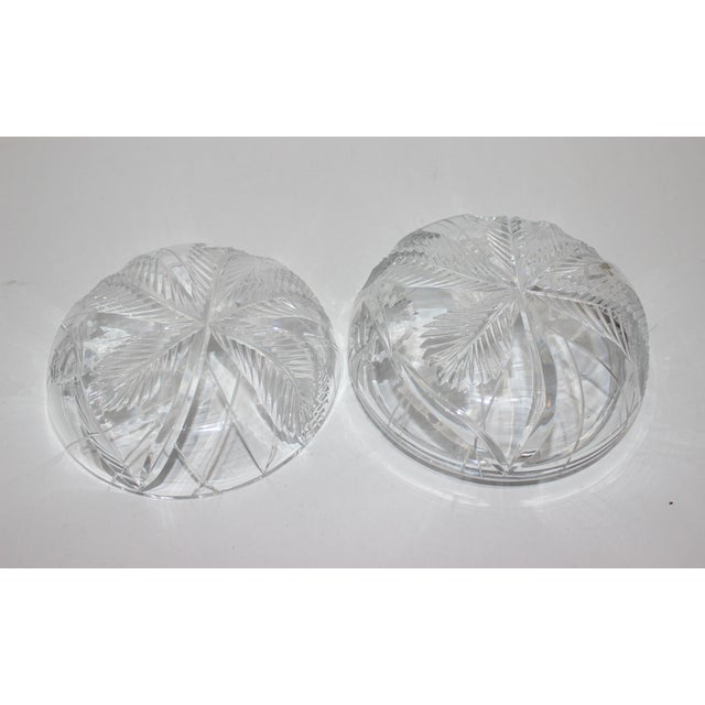 Palm Tree Lidded Box Bonbonnier in Cut Crystal For Sale In West Palm - Image 6 of 11