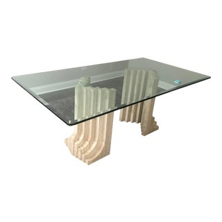 Italian Double Pedestal Travertine and Glass Dining Room Table For Sale