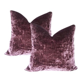 Grape Belgium Velour Velvet Pillows - A Pair