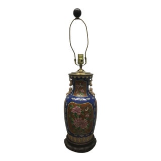 Vintage Hand Painted Chinoiserie Asian Foo Dog Handle Table Lamp For Sale