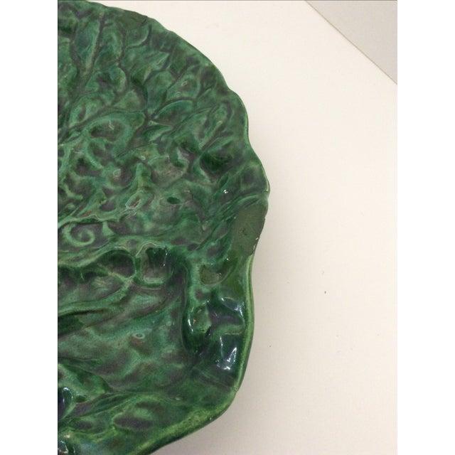 Vintage Portugese Green Leaf Platter For Sale - Image 4 of 8