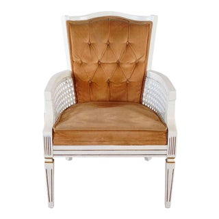 White Wooden Cane Armchair For Sale