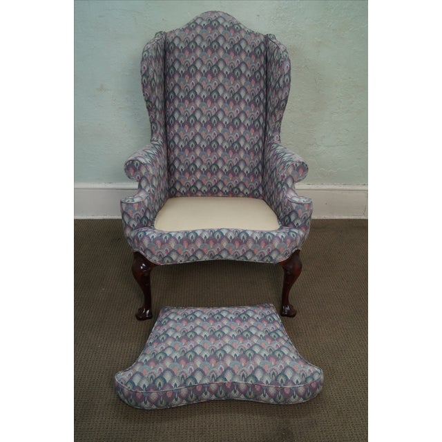 Solid Mahogany Queen Anne Wing Chair by Southwood For Sale - Image 9 of 10