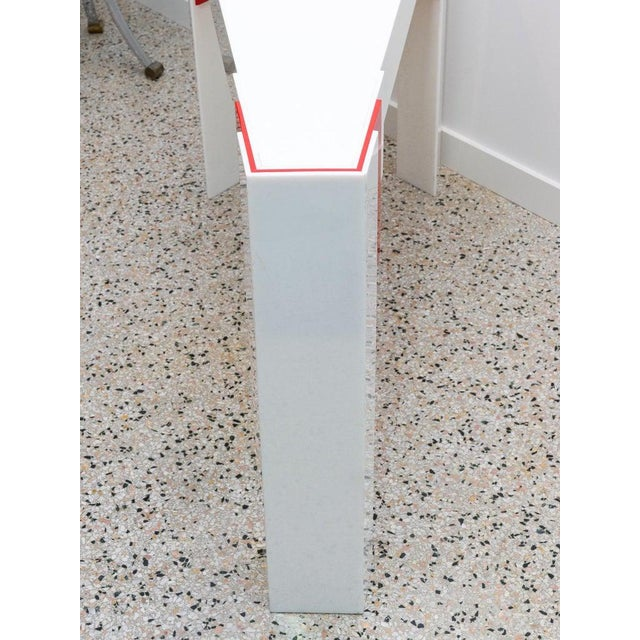 Lucite Console Table Red and White 1970s Art Deco Revival For Sale - Image 12 of 13