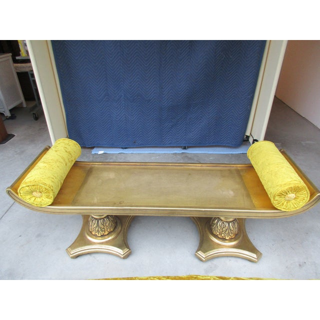 Yellow Mohair Gilt Wood Window Bench With Gondola Style Upturned Arms For Sale - Image 12 of 13