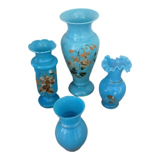 Late 19th Century Handpainted Turquoise Opaline Glass Vases - Set of 4 For Sale