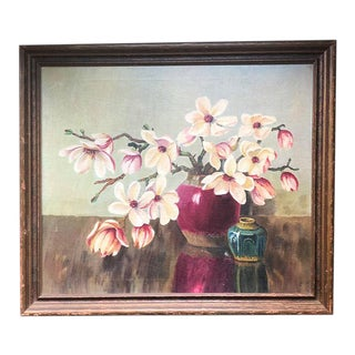 Vintage Floral Oil Painting in Wooden Frame For Sale