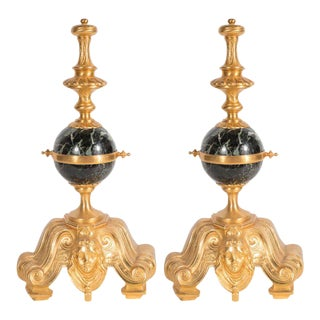 Antique Dore Bronze and Green Marble Bronze Louis XVI Style Chenets/Andirons For Sale