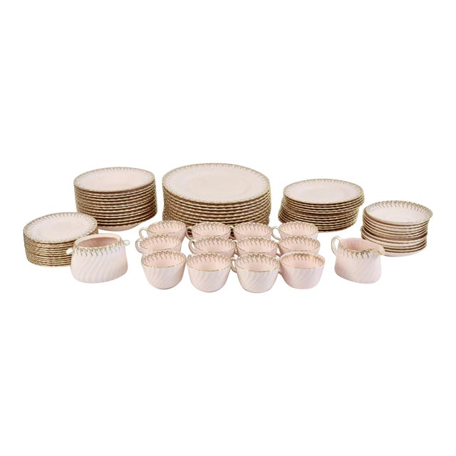 Minton Shell Pink Gilt Porcelain Service for 12, C. 1950 - Image 1 of 7